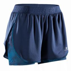 Cardiofitness 2-in-1-short 500 voor dames marineblauw