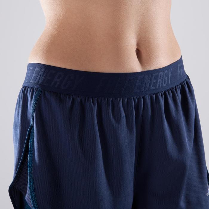 Short 2 en 1 fitness cardio femme bleu marine et imprimés roses 520 Domyos - 1357319