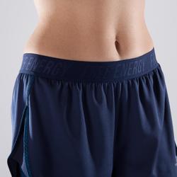 Sporthose kurz Cardio 500 2-in-1 Damen Fitness marineblau
