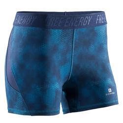 Short fitness cardio-training femme avec imprimés bleus 500