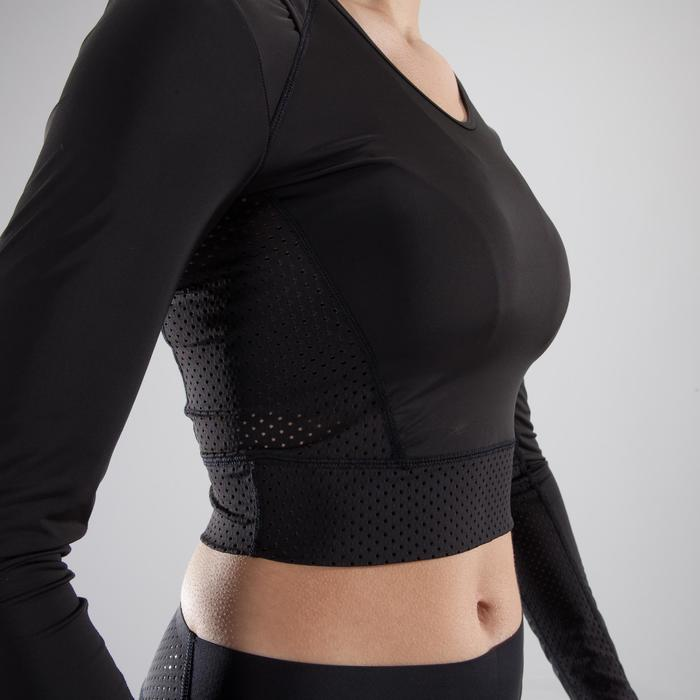 Cropped top fitness cardio-training femme noir 900 - 1357322