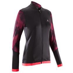 Chaqueta fitness cardio-training mujer negro con estampados rosas 500