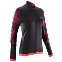 Trainingsjacke Cardio 500 Damen Fitness schwarz mit rosa Prints