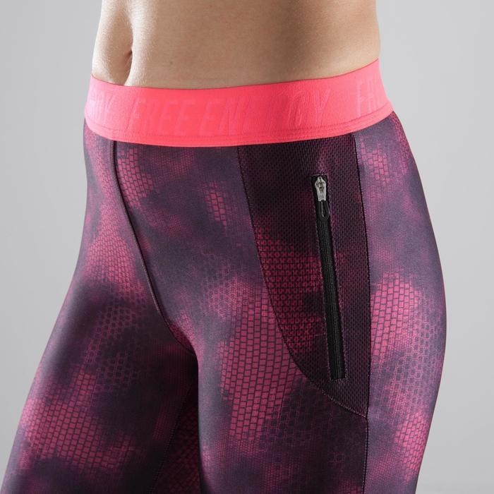 Legging 7/8 fitness cardio femme bleu marine détails tropicaux 500 Domyos - 1357343