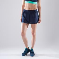 Pantalón Short deportivo 2 en 1 Cardio Fitness Domyos 500 mujer azul marino