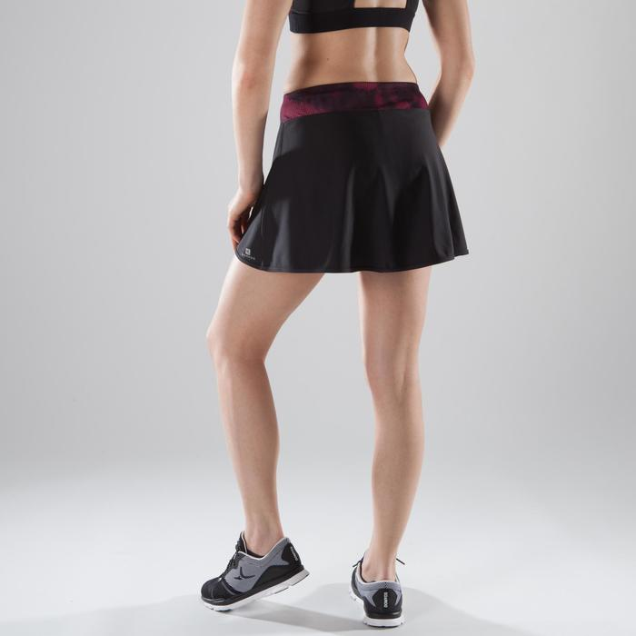 Dames shortrokje fitness en cardiotraining zwart met roze en zwarte details 500