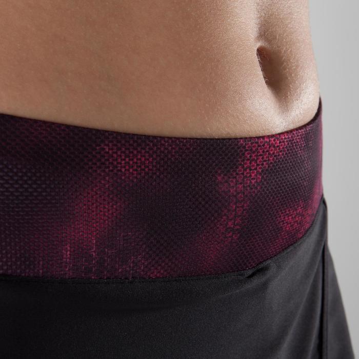 Short-jupe fitness cardio-training femme noire détails roses et noirs 500 - 1357370