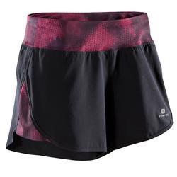 Cardiofitness short loose fit voor dames zwart en roze en zwarte details 500