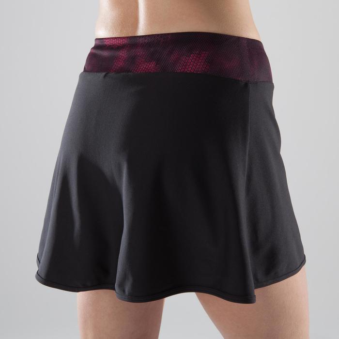 Short-jupe fitness cardio-training femme noire détails roses et noirs 500 - 1357380