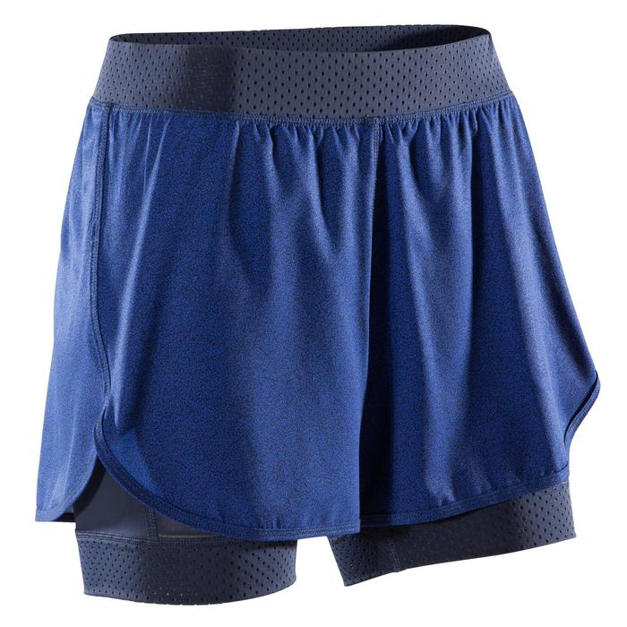 Short 2 en 1 fitness cardio-training femme bleu 900