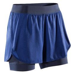 2-in-1 damesshort voor fitness en cardiotraining blauw 900