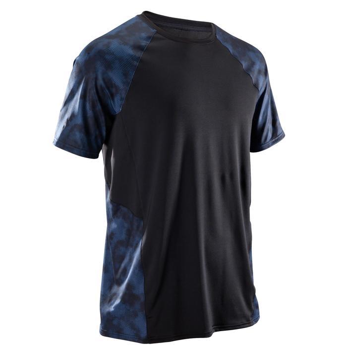 Camiseta de fitness cardio-training para hombre FTS500 negro azul gris