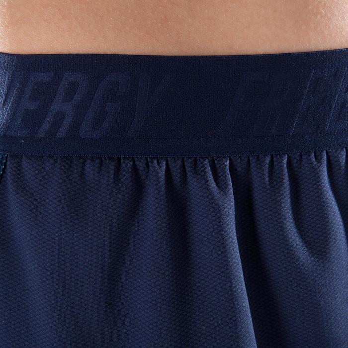 Short 2 en 1 fitness cardio femme bleu marine et imprimés roses 520 Domyos - 1357389