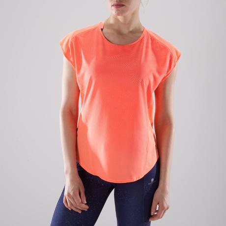 67c3638c8be87 T-shirt loose fitness cardio-training femme corail nuancé 120. Previous.  Next