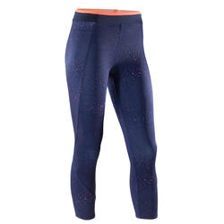 120 Women's 7/8 Cardio Fitness Leggings - Navy/Coral
