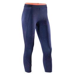 Legging 7/8 d'entraînement cardio femme bleu marine et corail 120