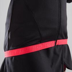 Trainingsjacke Cardio 500 Damen Fitness schwarz mit rosa Prints