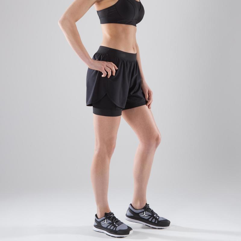 compra genuina nuevo estilo de 2019 descuento de venta caliente - Pantalón Short deportivo 2 en 1 Cardio Fitness Domyos 900 mujer negro