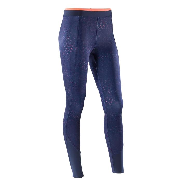 Leggings fitness cardio-training mujer con estampados azul mar. y rojo coral 120