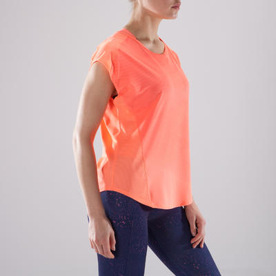 7fd2f8e7a4165 T-shirt loose fitness cardio-training femme corail nuancé 120 ...