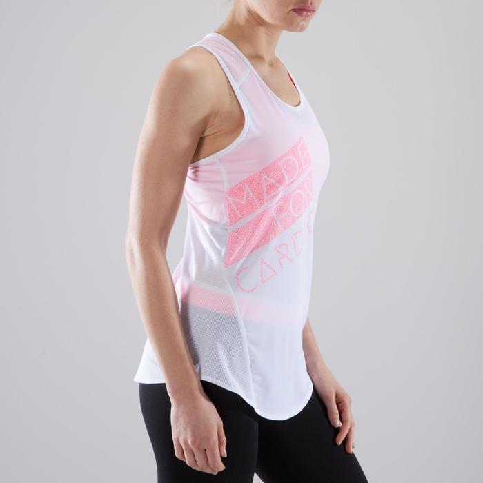 Camiseta sin mangas fitness cardio-training mujer blanco estampados rosas 120