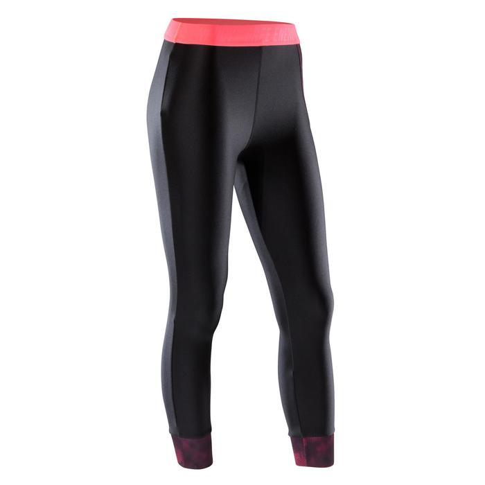 Legging 7/8 fitness cardio-training femme noir détails roses 500