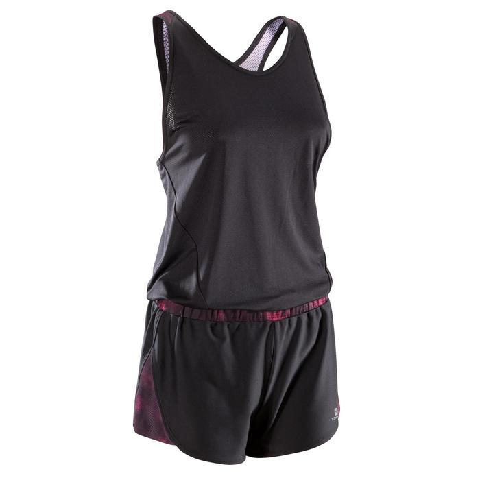 Combishort fitness cardio-training femme noir détails roses 500 - 1357434