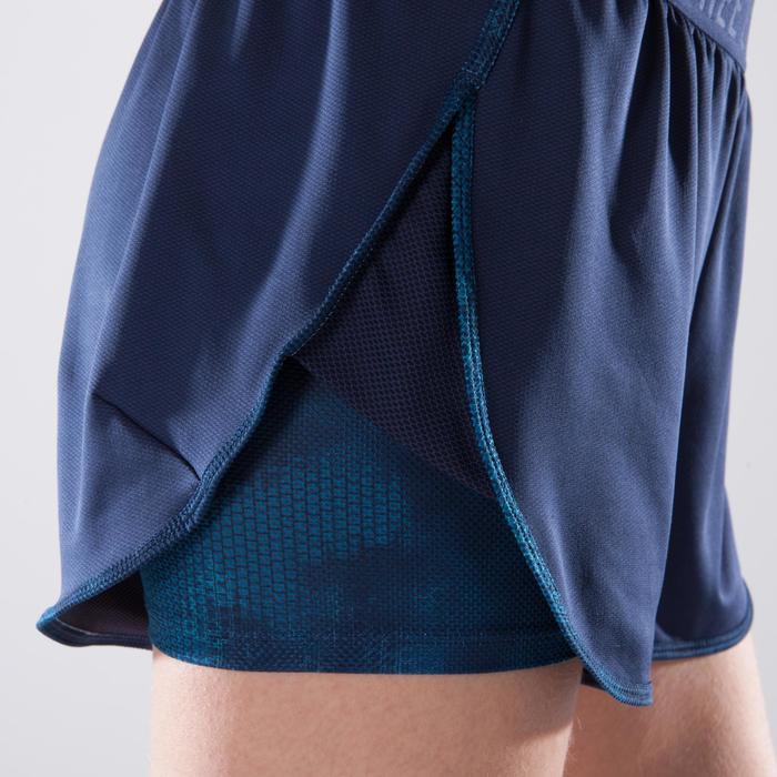 Short 2 en 1 fitness cardio femme bleu marine et imprimés roses 520 Domyos - 1357442