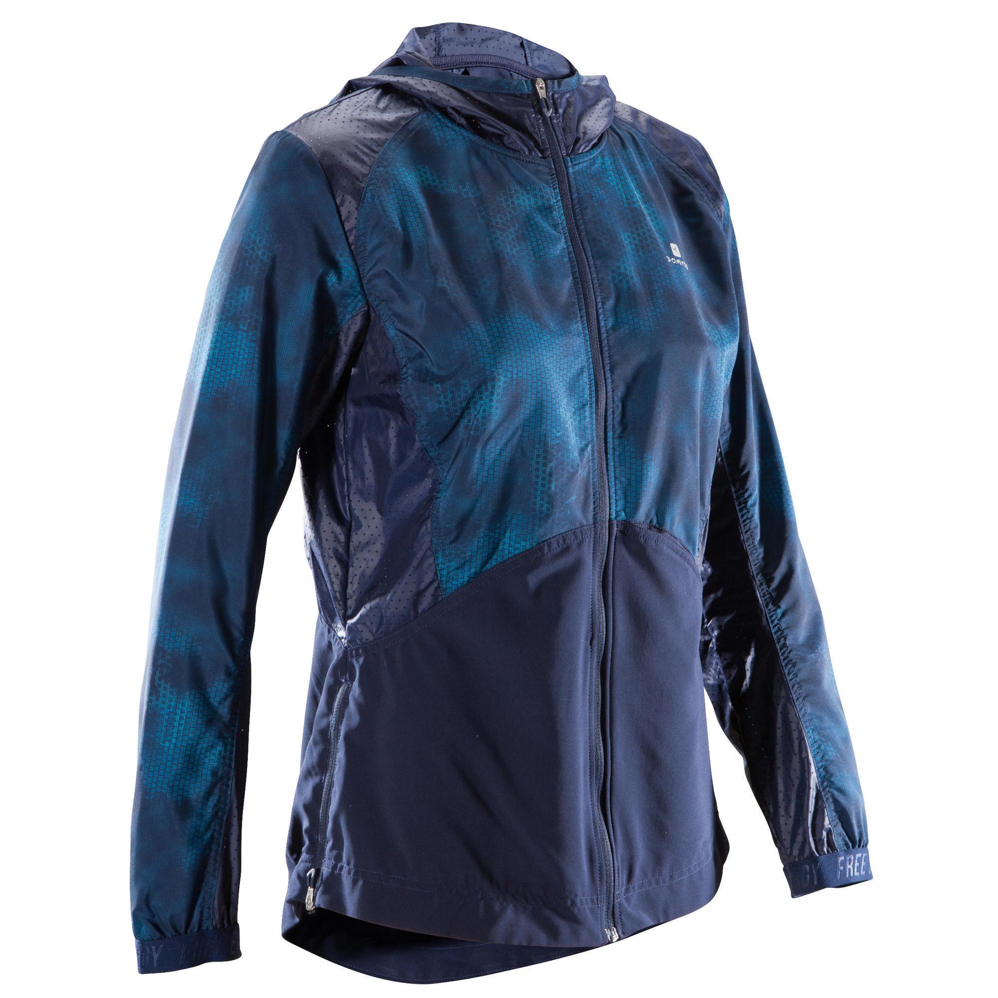 Domyos Hoodie voor cardiofitness dames marineblauw met blauwe opdruk 520