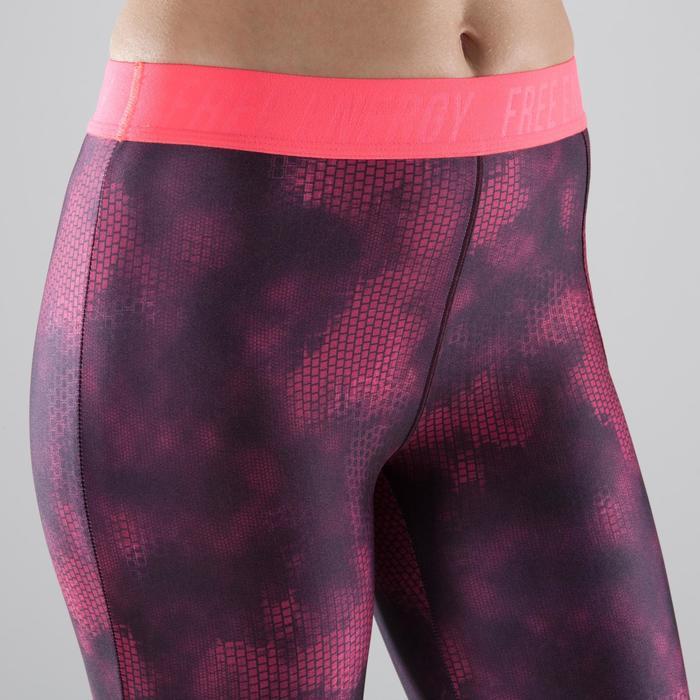 Legging 7/8 fitness cardio femme bleu marine détails tropicaux 500 Domyos - 1357449