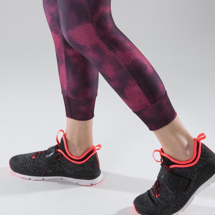 Legging 7/8 fitness cardio femme bleu marine détails tropicaux 500 Domyos - 1357451