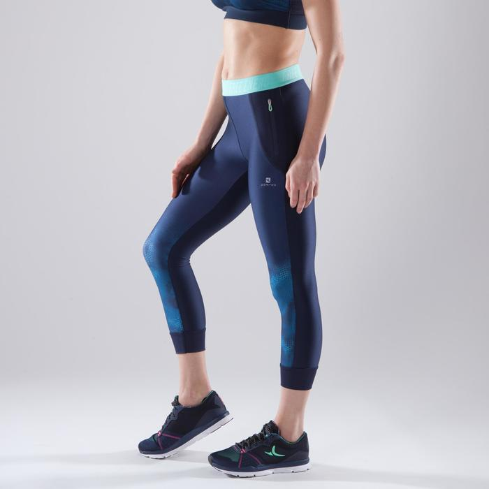 7/8-legging 500 cardiofitness dames marineblauw met blauwe opdruk