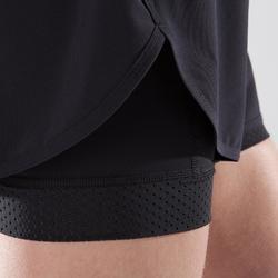 Pantalón Short deportivo 2 en 1 Cardio Fitness Domyos 900 mujer negro