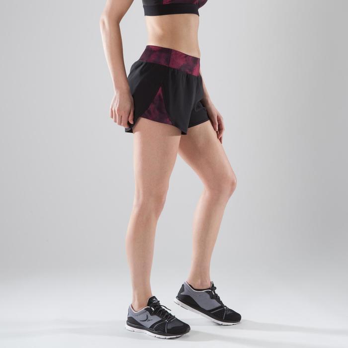Short loose fitness cardio-training femme noir détails roses et noirs 500