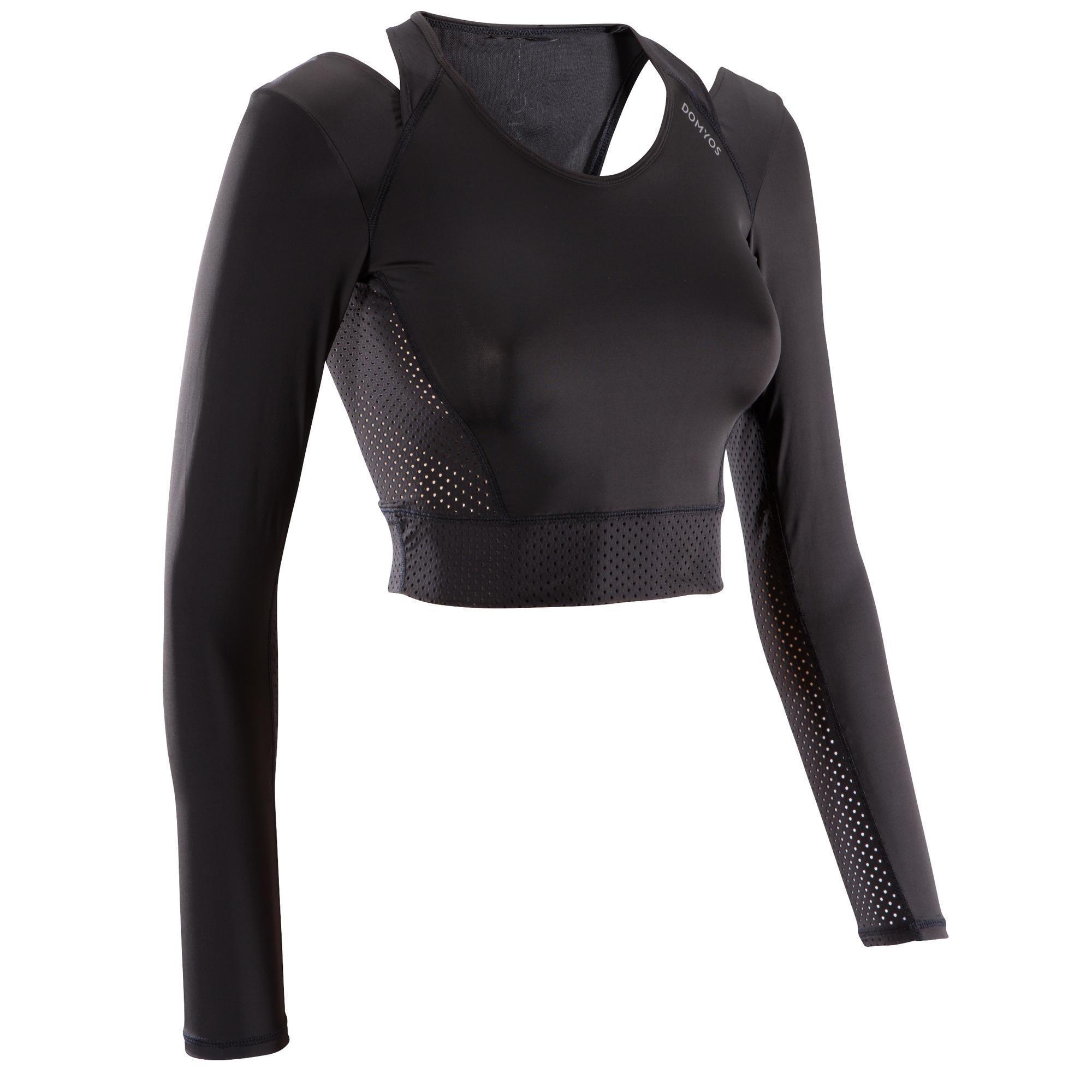 Domyos Fitness crop top 900 voor dames, zwart kopen? Leest dit eerst: Fitness kleding Fitness shirt met korting