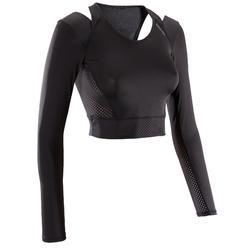Fitness crop top 900 voor dames, zwart