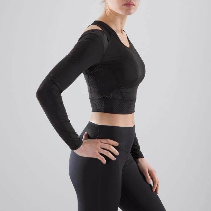 Cropped top fitness cardio-training femme noir 900 - 1357476
