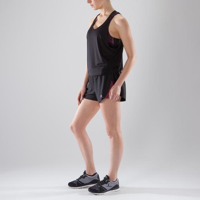 Combishort fitness cardio-training femme noir détails roses 500 - 1357519