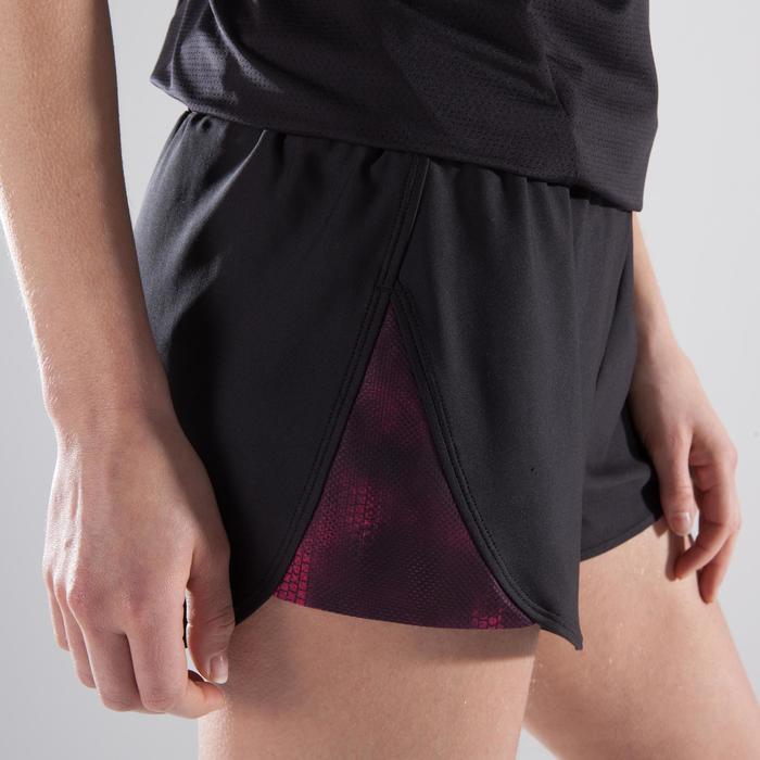Combishort fitness cardio-training femme noir détails roses 500 - 1357520