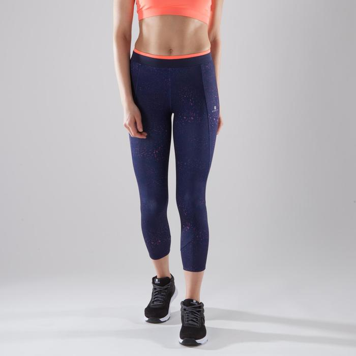 7/8-Leggings Cardio 120 Fitness Damen dunkelblau/koralle