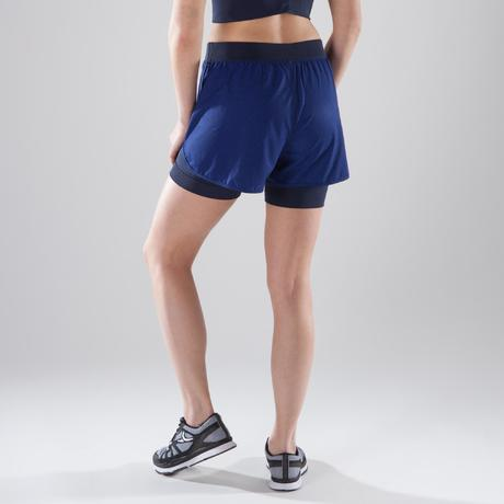 short 2 en 1 fitness cardio training femme bleu 900 domyos by decathlon. Black Bedroom Furniture Sets. Home Design Ideas