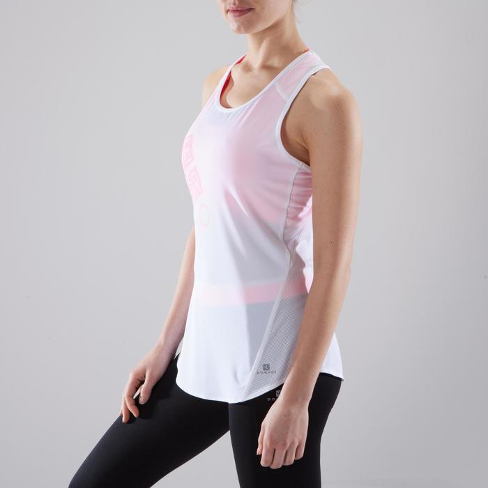 Fitnesstopje Cardio 120 dames wit met roze opdruk