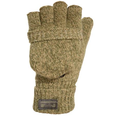 Warm woollen hunting mittens 100 - brown
