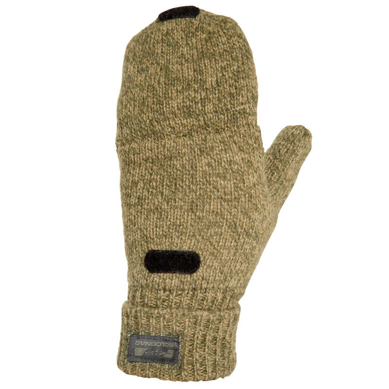 WARM GLOVES/BEENIES/HOODS Shooting and Hunting - 100 Wool Mittens SOLOGNAC - Hunting and Shooting Clothing
