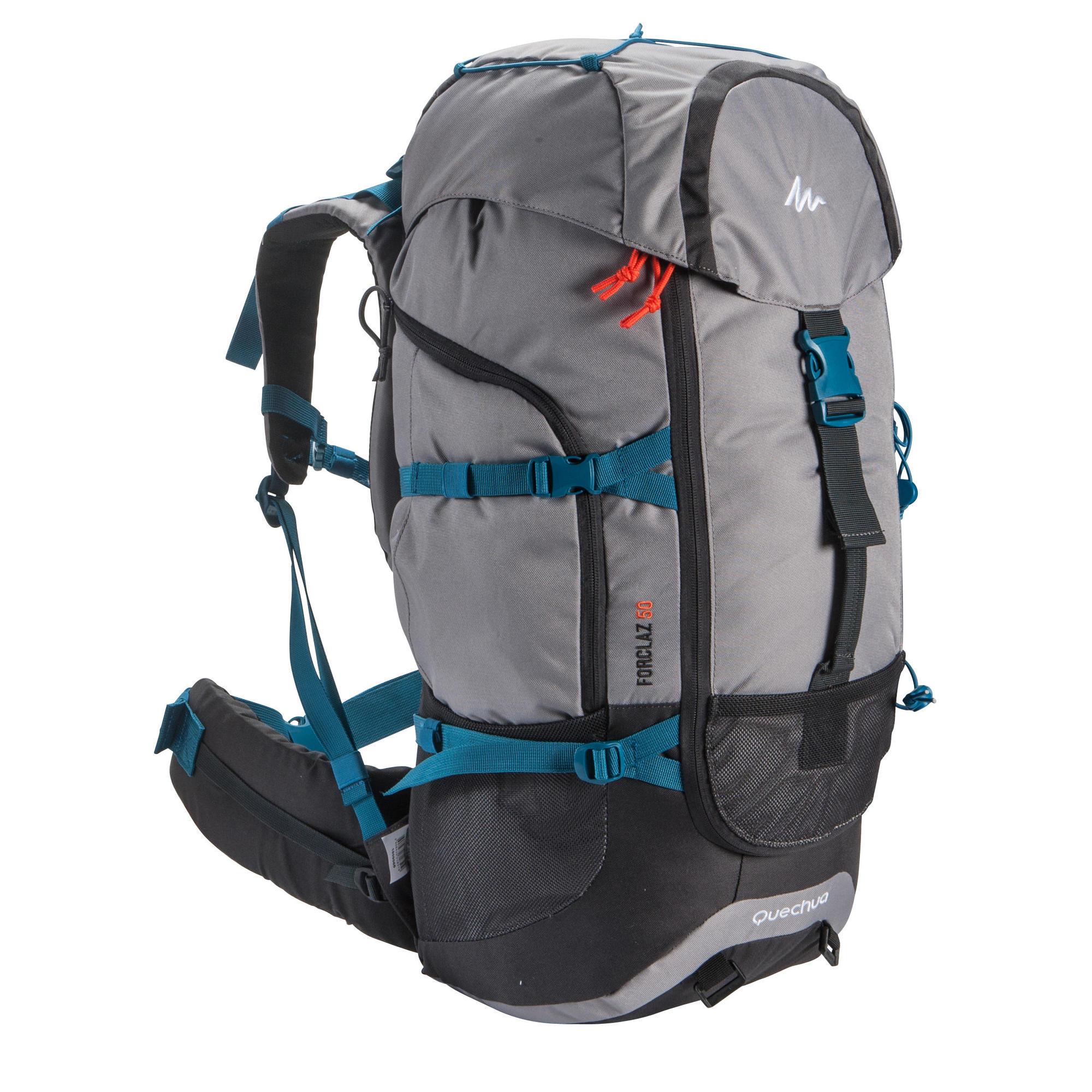 sac dos trekking forclaz 50 litres gris quechua. Black Bedroom Furniture Sets. Home Design Ideas