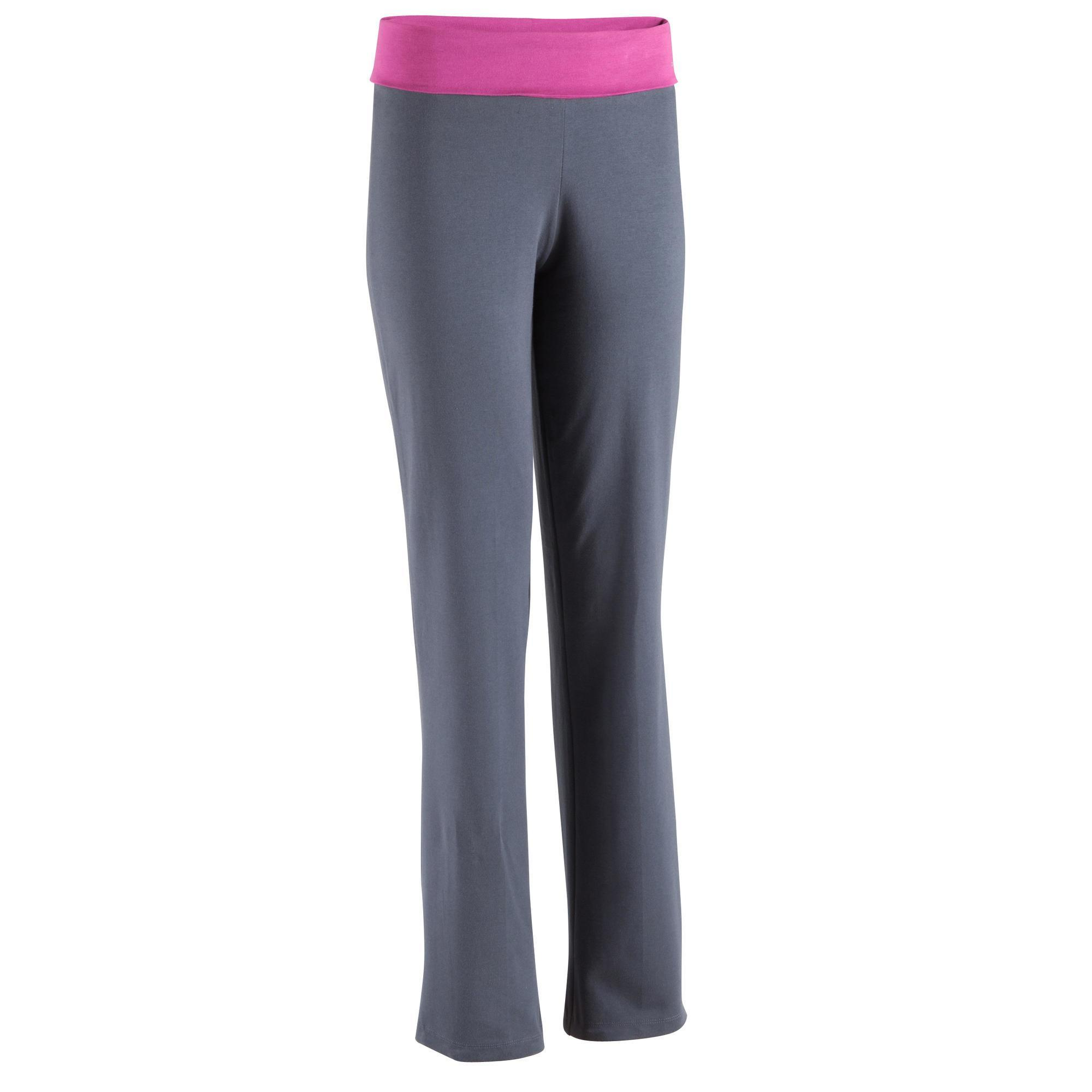 pantalon yoga en coton issu de l 39 agriculture biologique femme gris fonc domyos by decathlon. Black Bedroom Furniture Sets. Home Design Ideas