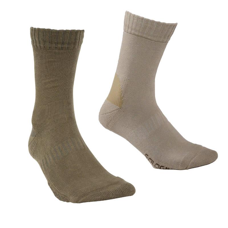PONOŽKY/DOPLŇKY Myslivost a lovectví - PONOŽKY 100 BÉŽOVÉ SOLOGNAC - Myslivecká obuv a ponožky
