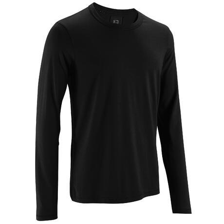 ee6b288f715a8 T-Shirt 120 manches longues regular Pilates Gym douce noir homme   Domyos  by Decathlon