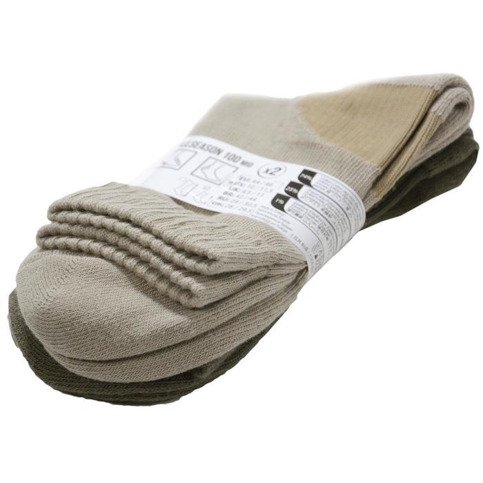 Middelhoge sokken voor de jacht Allseason 2 paar beige