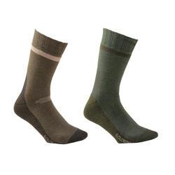 Warme sokken Winter mid 2 paar bruin